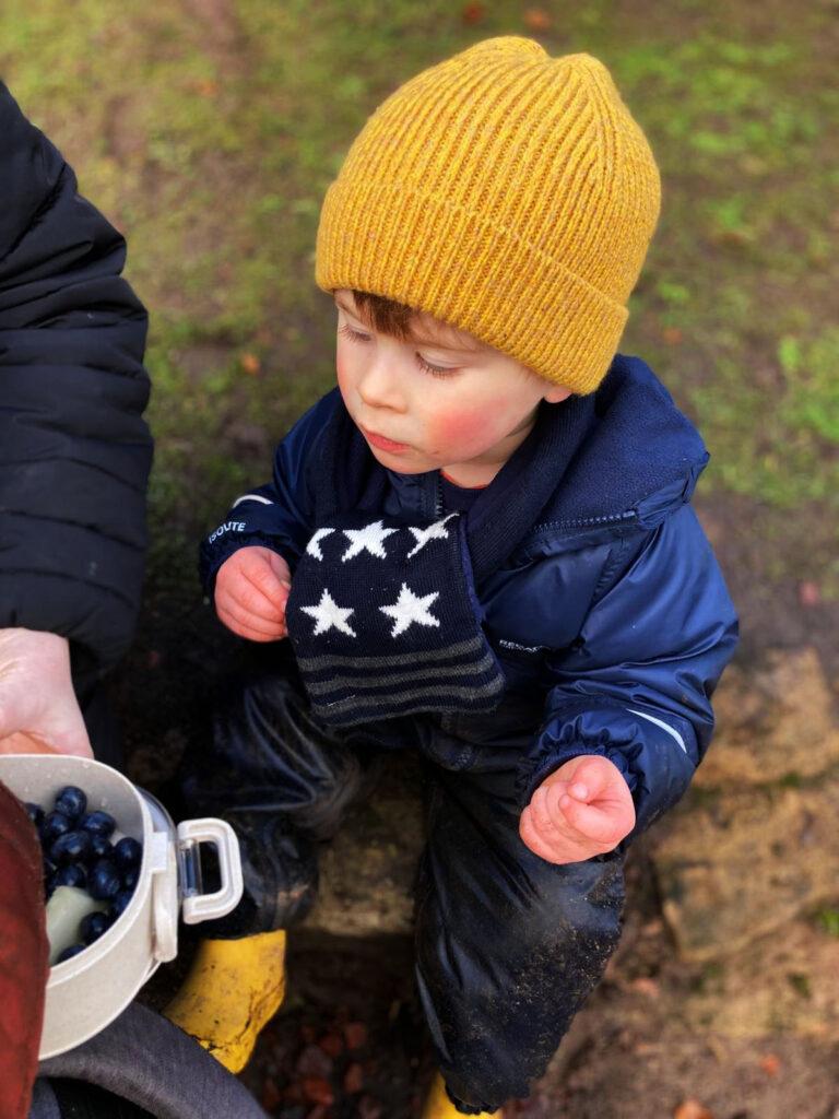 Little boy eating blueberries